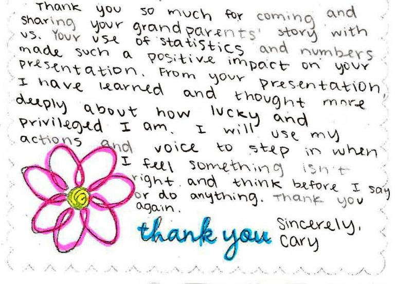Thank You Card from Einstein Middle School